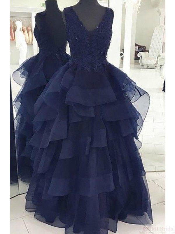 V-neck Applique Navy Blue Long Prom Dresses Evening Dresses(ED1678)