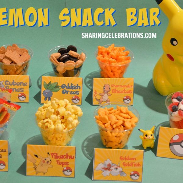 """Whatever you choose to serve, a """"snack bar"""" allows guests to serve themselves, which is convenient for everyone. <br/>Whatever you (or they) choose, these <a href=""""http://sharingpartyideas.com/pokemon-party-food-cards/"""" target=""""_blank"""">Pokemon food cards</a> will help maintain your party's theme, and make what you serve even more fun!"""