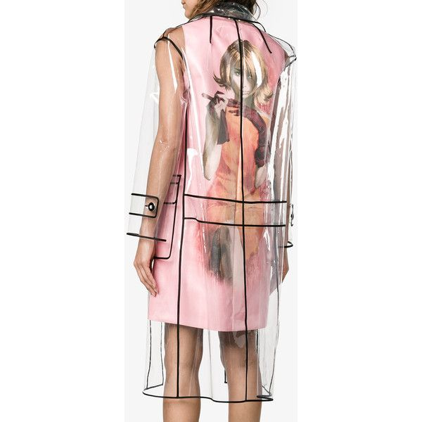 Miu Miu transparent black trim raincoat ($1,605) ❤ liked on Polyvore featuring outerwear, coats, long raincoat, clear rain coats, transparent raincoats, mac coat and long rain coat