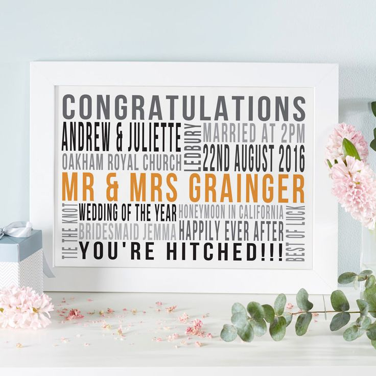 If you are searching for a unique wedding gift for the happy couple, try making a personalised word art print or canvas. See your design come to life as you type with instant previews. All orders shipped in just 2 working days with free UK delivery