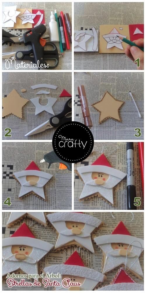 Ornaments for the tree: Stars Santa Claus | Learning Crafts is facilisimo.com