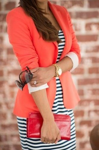 coral coloured blazer and striped dress. would work with nude heels