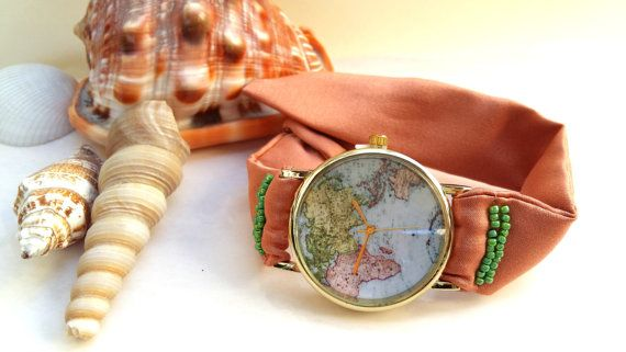 Map Watch Watch for Women  World Map Watch  by HARMONYHOURWATCHES