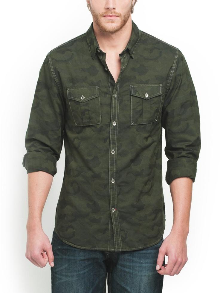 GUESS Logan Camo Shirt, OLIVE NIGHT (LARGE)