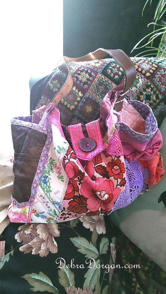 Pink Flower Bag, Vintage Textiles, Purple, Leather, Recycled, Shoulder Bag, Slouchy, Hot Pink, Boho