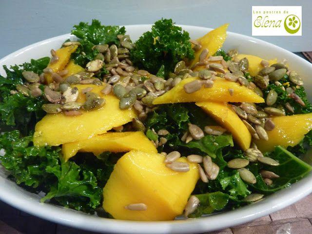 #Ensalada de #kale con #manga #Recetas #Recipes #Vegetariana #Vegetarian #Vegana #Vegan