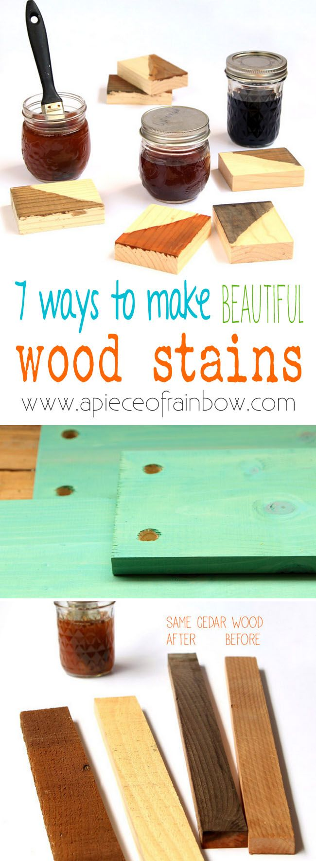 7 ways to make wood stain from natural household materials! These quick and easy wood stains are super effective, long lasting, low cost, and non-toxic! - A Piece Of Rainbow