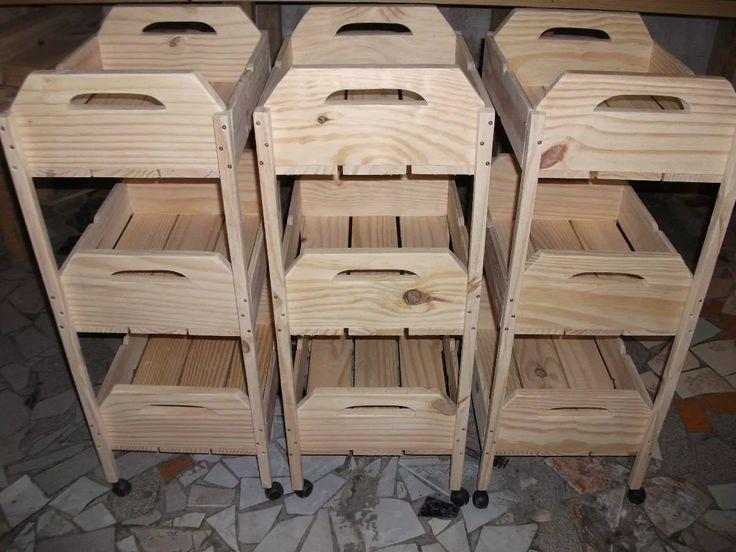 Fruteira De Caixotes -1001 Utilidades.(madeira)com Rodizios - R$ 149,99 em Mercado Livre