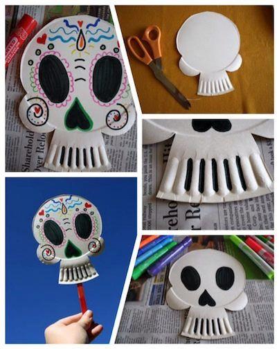 Máscara para el Día de Muertos, sólo necesitas reutilizar un plato de cartón, tijeras y colores.