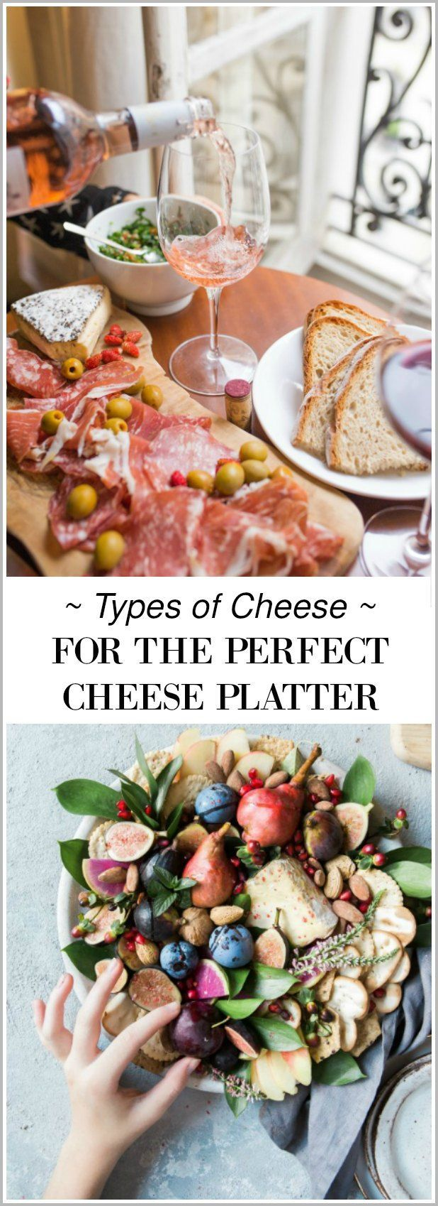 See these no fail tips on picking the types of cheese for the perfect cheese platter and entertain like a pro! This is the ultimate cheese plate guide that includes a FREE printable grocery list of cheeses and other ingredients you'll need for a delicious and beautiful cheese board presentation! #cheese #cheeseplate #entertaining #party  #food #free #printable #grocerylist #organization