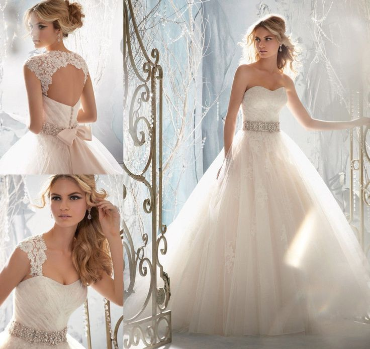 2014 New Luxury Sweetheart Appliqued Tulle Bridal Gown Ball Gown Wedding Dresses: