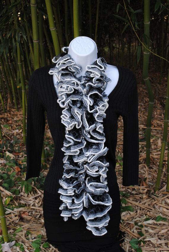 black and white elegant sashay scarf. $20.00, via Etsy.