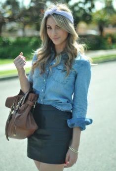 Version très girly du combo chemise en jean + jupe en cuir !                                                                                                                                                                                 Plus