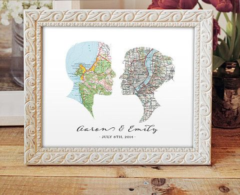 Cameo Map Print - Wedding or Engagement Gift - Choose any two cities - – A. Gier Design