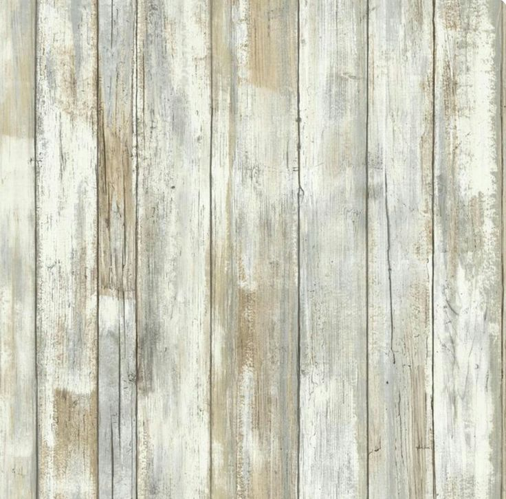 Wallpaper Weathered Faux Wood Planks Tan Aqua Cream