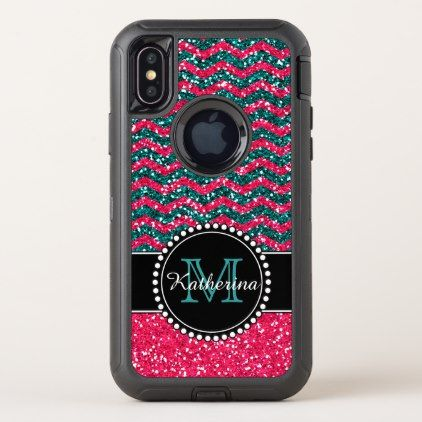 Blue & Pink Glitter Chevron Personalized Defender OtterBox Defender iPhone X Case - diy cyo personalize design idea new special