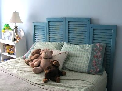 Interesting head board.  Paint shutters to match your decor. - - - shutters repurposed as headboard - - - http://pinterest.com/allieduff/shutters/