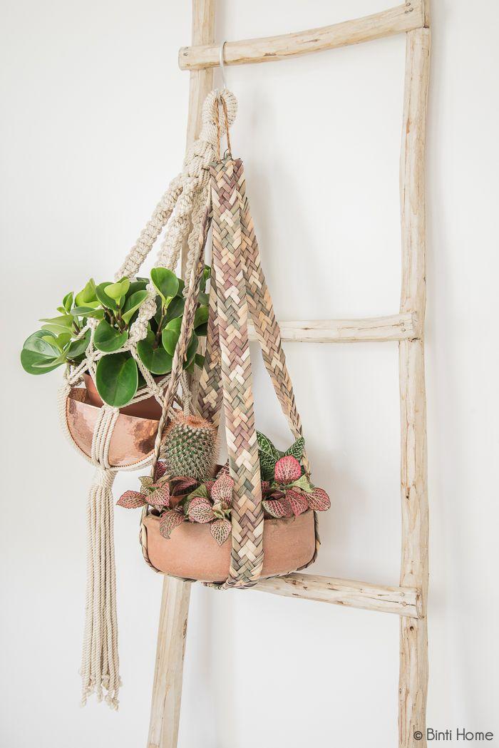 Decoratieladder met plantenhanger #planthanger #decorationladder #bintihomeshop