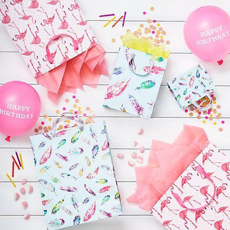 Buy John Lewis Foiled Flamingo Large Gift Bag, Pink Online at johnlewis.com