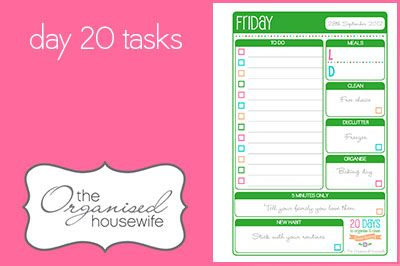 {The Organised Housewife} 20 Days to Organise & Clean your home - Day 20