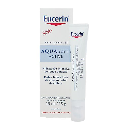 O Creme Hidratante Eucerin Aquaporin Active Contorno Dos Olhos 15 ml proporciona hidratação intensa e profunda para o contorno dos olhos. Reduz olheiras e as bolsas localizadas abaixo dos olhos, eliminado aquela aparência de cansaço. Também realça e alarga o olhar, deixando a pele ao redor dos olhos radiante e saudável. Sua formula contém Gluco-Glycerol, que facilita a ativação dos canais de distribuição de umidade da pele, as Aquaporinas. O creme hidratante é indicado para todos os tipos de…