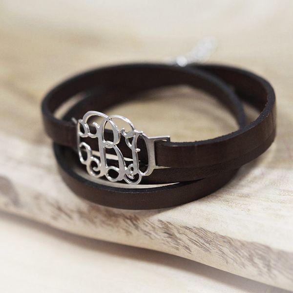 Bracelet Monogramme À Enrouler en Cuir de Bijoux Personnalisés sur DaWanda.com