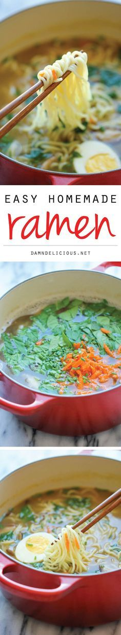 30 Minute Easy Homemade Ramen - The easiest ramen you will ever make, it's so much tastier (and healthier) than the store-bought version! #healthy #ramen #recipes