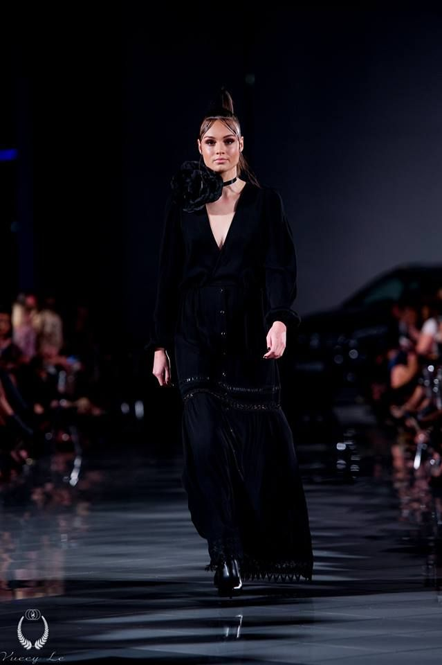 Dark Thorn Clothing's Almira maxi dress on the runway at the Boutique Series Black Dress 2016 held at the Mercedes Benz Adelaide showroom. Photography: Vueey Le Models: Finesse Models Australia Hair: Zink Makeup: Lauren Parkinson Styling: Cimon Styling  Almira: www.darkthornclothing.com/collections/new-moon/products/almira-maxi-dress-pre-order