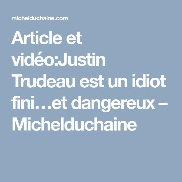 Article et vidéo:Justin Trudeau est un idiot fini…et dangereux – Michelduchaine