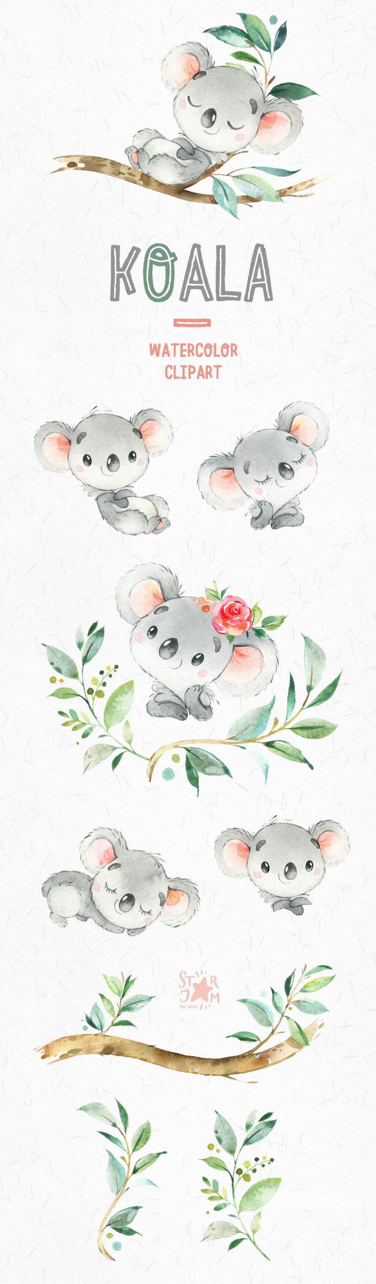 Little animals watercolor clipart Australia koala - use with the native animal material! Animals Watercolor, Watercolor Clipart, Watercolor Art, Watercolor Flowers, Koala Baby, Animal Set, Image Deco, Clip Art, Oeuvre D'art