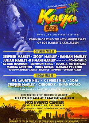 Kaya Fest With Stephen Marley Ziggy Marley Damian Marley Ms. Lauryn Hill Cypress Hill Action Bronson And More              MIAMI Feb. 27 2018 /PRNewswire/ Produced by Fruit of Life Productions and OneRise Entertainment Kaya Fest is a two-day all-ages music and awareness experience being held at NOS Events Center April 28 & 29 2018 in Southern California. Today (February 27) the festival unveils its daily lineup in anticipation of single day passes going up for sale tomorrow (February 28)…