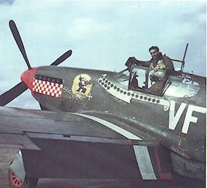 "Gentile in the cockpit of his P-51B. After downing 3 planes on April 8, he was the top scoring 8th Air Force ace when he crashed  ""Shangri La"", on April 13, 1944 while stunting over the 4th FG's airfield at Debden for a group of assembled press reporters and movie cameras. His CO, Blakeslee, immediately grounded Gentile as a result, and he was sent back to the US for a tour selling war bonds. ,"