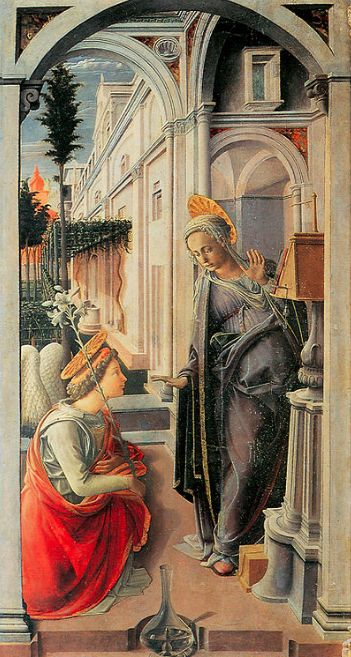 "Filippo Lippi, detail from the Martelli altarpiece (""Annunciation with Three Angels""), c. 1440, Florence, San Lorenzo"