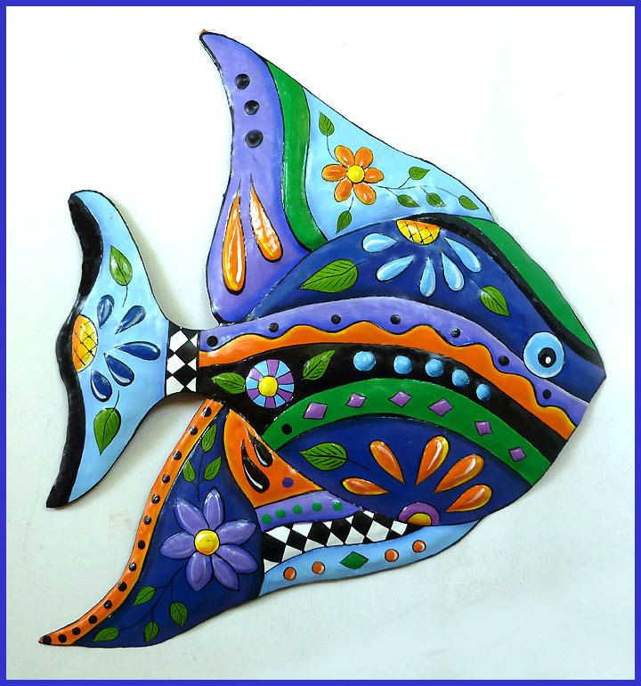 173 best Tropical Fish Wall Decor Painted Metal Wall Decor
