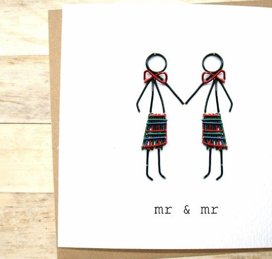 Kilts on! Tartan up! Unique, same sex wedding card that the happy couple are sure to love.