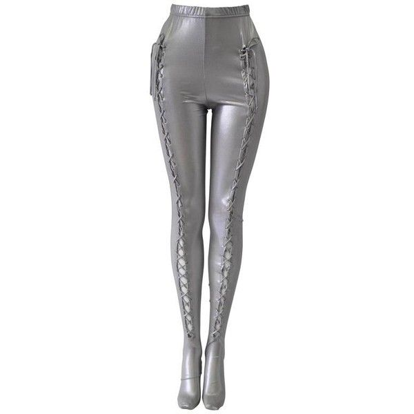 Preowned Extremely Rare Gianni Versace Intimo Silver Bondage Space Age... (£1,610) ❤ liked on Polyvore featuring pants, leggings, versace, silver, legging pants, silver pants and silver leggings