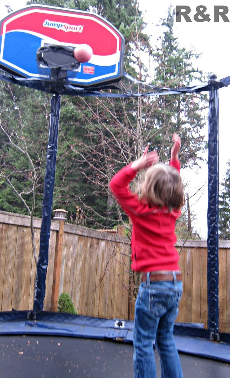 Basketball – did you know that JumpSport also sells an amazing trampoline basketball hoop that hooks to the side of the safety enclosure?  Whether you are playing one-on-one, playing H.O.R.S.E. or a game of Around The World, a basketball hoop adds another dimension of fun to your backyard and your trampoline.