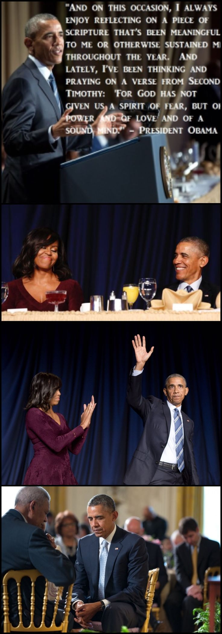"""""""God has not given us a spirit of fear, but of power and of love and of a sound mind,"""" the President Barack Obama said. #44thPresident #BarackObama #received applauds from #FirstLady #MichelleObama and other #guests after #speaking at the #National #Prayer #Breakfast in Washington, D.C. February 2016   #Obama44 #ObamaLegacy #ObamaHistory #ObamaLibrary #ObamaFoundation Obama.org"""