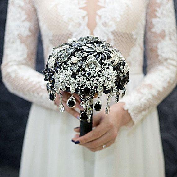 Black Brooch Bouquet, Diamante Brooch Bouquet, Bridal Bouquet, Black Silver, Wedding Bouquet, Unique Bouquet, set