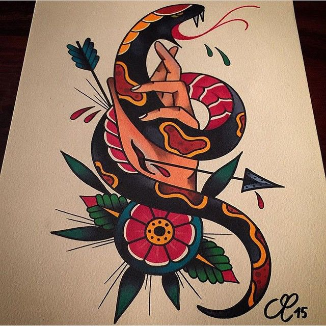 Traditional snake tattoo design