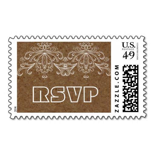 Brown cork and vintage flourish motif wedding RSVP Postage Stamps. #cork, #brown, #flowrish, #vintage, #wedding, #RSVP, #postagestamp, #postage, #stamp