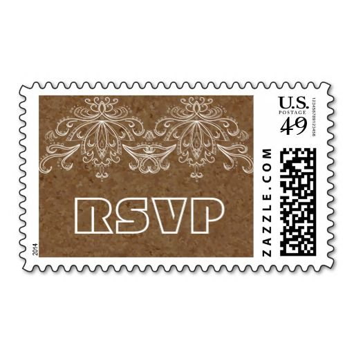 Brown cork and vintage flourish motif wedding RSVP Postage Stamps. #cork, #brown, #flowrish, #vintage, #wedding, #RSVP, #postagestamp, #postage, #stamp