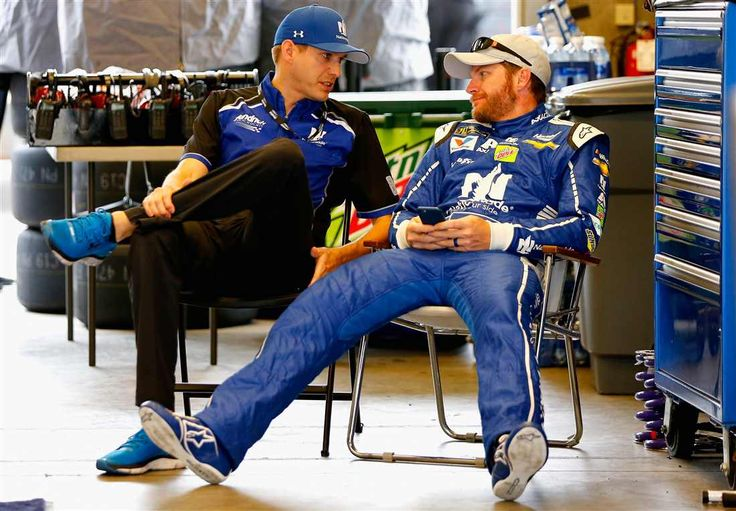 Dale Earnhardt Jr., driver of the No. 88 Nationwide Chevrolet, sits in the garage area during practice for the Monster Energy NASCAR Cup Series Brickyard 400 at Indianapolis Motor Speedway on July 22, 2017 in Indianapolis, Indiana.