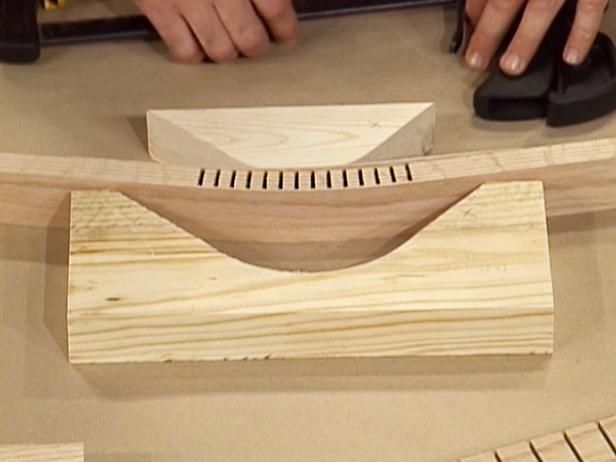 DIYNetwork.com woodworking experts show how a power saw with a special kerfing jig may be used to create a bend in a strip of wood.