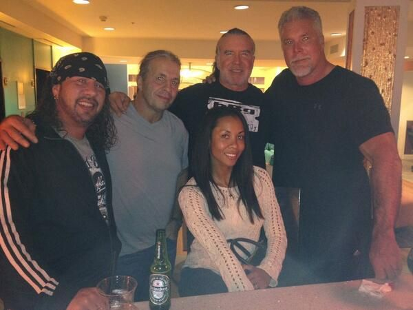 Sean Waltman, Bret Hart, his wife Stephanie, Scott Hall, & Kevin Nash