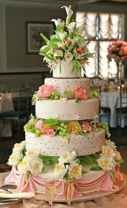 Great color and flowers for a wedding cake