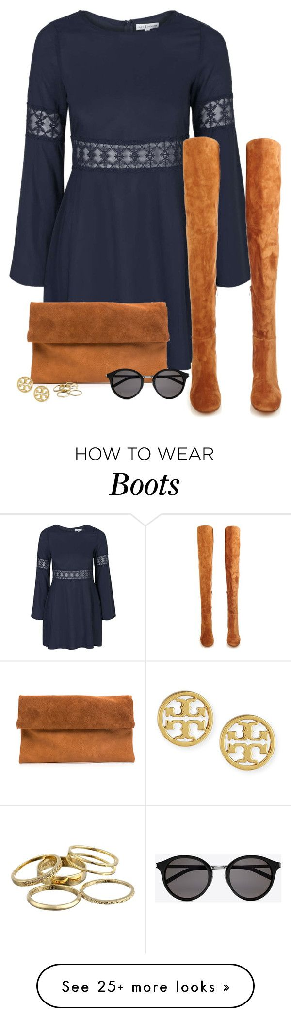 """""""Bell Sleeve Dress with Over-The-Knee Boots"""" by mrs-soudaphone-styles on Polyvore featuring Topshop, Gianvito Rossi, Yves Saint Laurent, Tory Burch, Kendra Scott, women's clothing, women, female, woman and misses"""