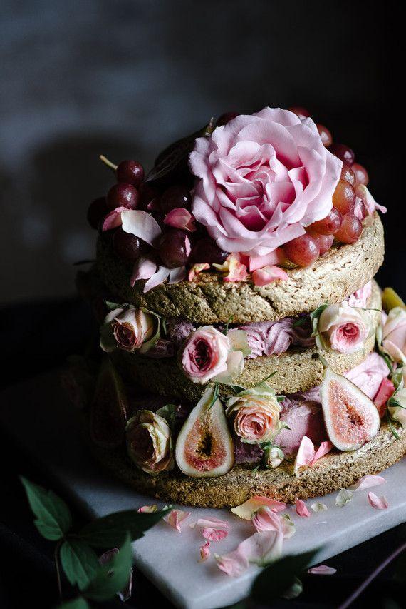 elegant blush naked wedding cake | image via: 100 layer cake
