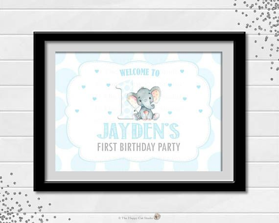 Printable 1st Birthday Party Welcome Sign Poster Elephant.  Great Party Decoration!