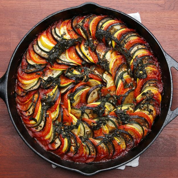 Baked Ratatouille, could add a few sliced potatoes for an all in one dish and less toms